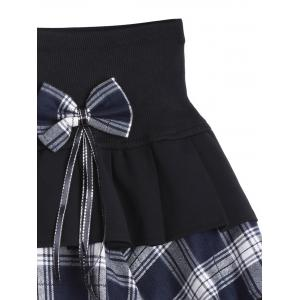 Tiered Bowknot Embellished Plaid Skirt -