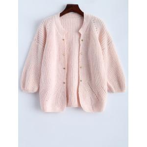 Studded Chunky Cardigan - Pink - One Size