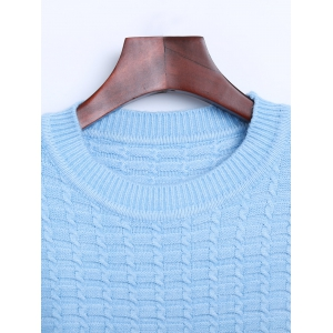 Crew Neck Cable Knit Sweater with Pocket -