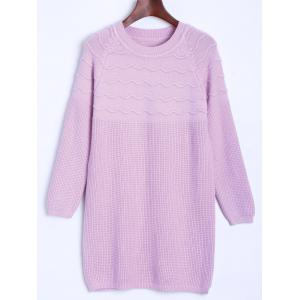 Raglan Longline Sweater with Wavy Knit