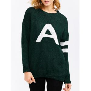A Letter Pullover Sweater - Deep Green - One Size