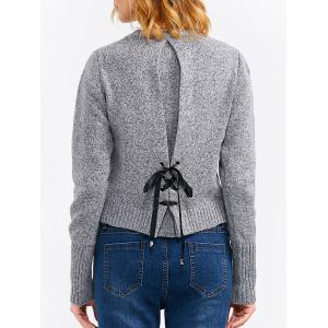 Back Lace-Up Cropped Sweater