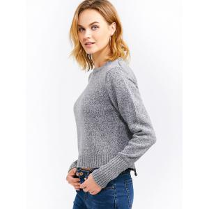 Back Lace-Up Cropped Sweater - GRAY ONE SIZE