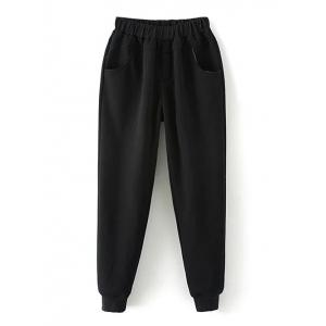 Plus Size Pockets Fleece Track Jogger Pants