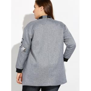 Plus Size Number Patched Bomber Jacket - GRAY 4XL