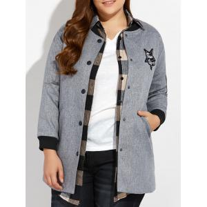 Plus Size Number Patched Bomber Jacket