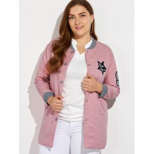 Plus Size Number Patched Bomber Jacket -