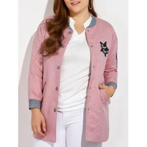 Plus Size Number Patched Bomber Jacket - Pink - 3xl