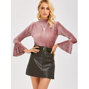 Bell Sleeve Beaded Velvet Tee -