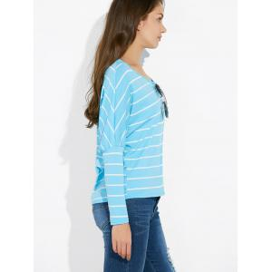 Batwing Sleeve Striped Tee -