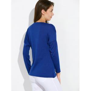 Dolman Sleeve Ruched Tulip Tee - BLUE XL