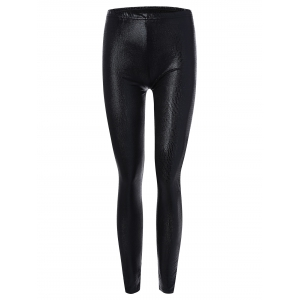 Skinny Faux Leather Leggings - Black - Xl
