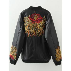 Plus Size Embroidered Faux Leather Bomber Jacket -