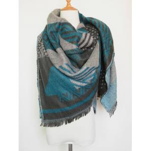 Aztec Geometry Fringed Knit Shawl Blanket Scarf - Lake Blue