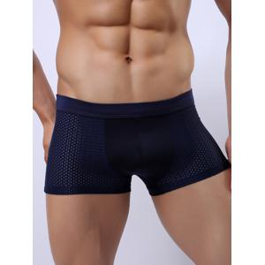 Wide Waistband Stretch Perforated Boxer Briefs - Royal - M