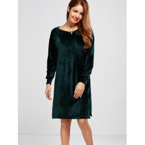 Long Sleeve Casual Velvet Shift Shirt Dress - BLACKISH GREEN XL
