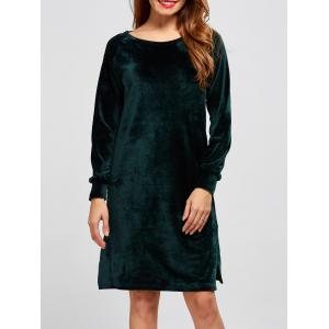 Long Sleeve Velvet Shift Shirt Dress
