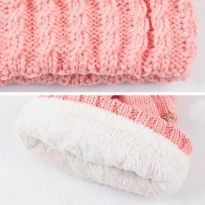 Warm Knit Cable Braided Pom Hat - RED