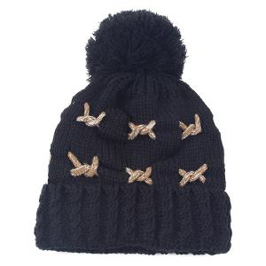 Warm Knit Cable Braided Pom Hat - Black - M