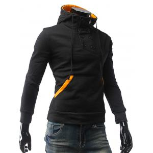 Contrast Color Pocket Button Up Pullover Hoodie -