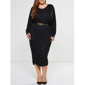 Batwing Sleeve Plus Size Long Cocoon Dress