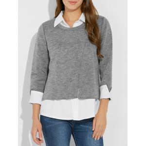 Plus Size Faux Twinset Shirt Collar Jersey Blouse