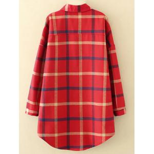 Plus Size Checkered Fleece Flannel Lined Shirt - RED 4XL