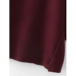 Plus Size Checked Textured Long Sweatshirt - WINE RED 3XL