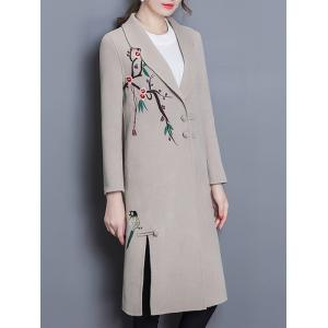 Wool Blend Longline Embroidered Coat -
