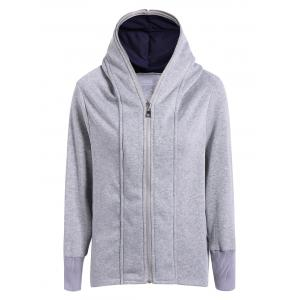 Casual Double Zippers Plus Size Hoodie