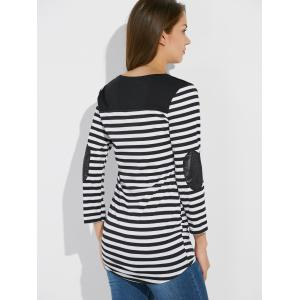 Stripe Asymmetric Elbow Sleeve Tee - WHITE XL