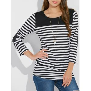Stripe Asymmetric Elbow Sleeve Tee