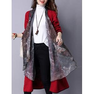 Open Front Casual Cardigan - Red - 2xl