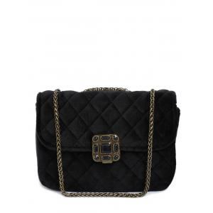Retro Chains Velour Quilted Bag - Black