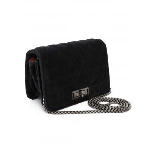 Chains Velour Quilted Crossbody Bag - BLACK