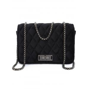 Chains Velour Quilted Crossbody Bag