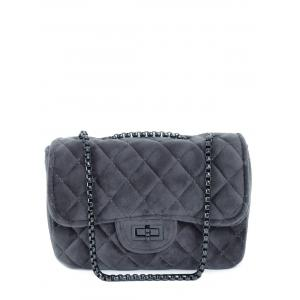 Chains Quilted Velour Crossbody Bag