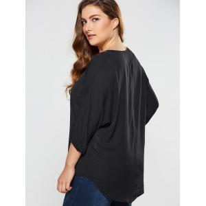 Plus Size Embroidery High Low Blouse -