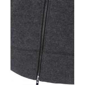 Inclined Zip Vertical Pockets Coat -
