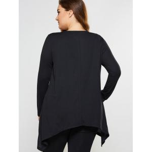 Plus Size Lace Insert Asymmetrical Tee -