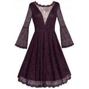Open Back See Through Long Sleeve Flare Lace Dress