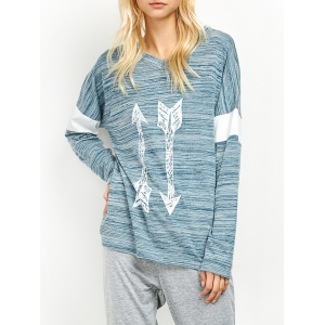 V Neck Space Dyed Arrow Pattern T-Shirt
