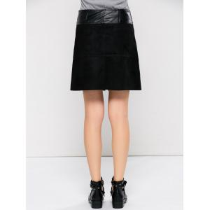 PU Leather Panel A Line Skirt With Pocket - BLACK XL