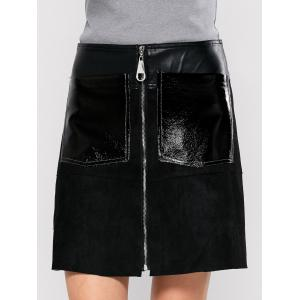 PU Leather Panel A Line Skirt With Pocket - Black - Xl