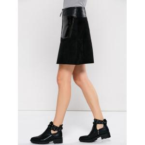 PU Leather Panel A Line Skirt With Pocket - BLACK S
