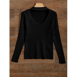 Cut Out V Neck Ribbed Choker Jumper - Black - S