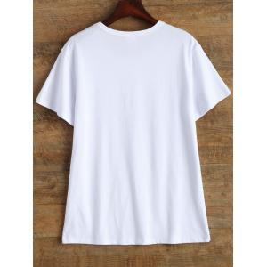 Casual Short Sleeve Graphic Letter Print T Shirt - WHITE L