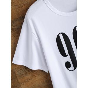 Casual Short Sleeve Graphic Letter Print T Shirt - WHITE M