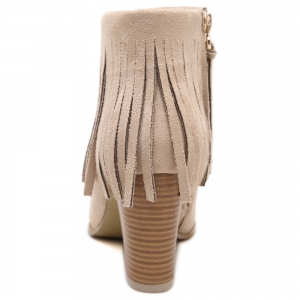 Chunky Heel Suede Fringe Ankle Boots - APRICOT 39