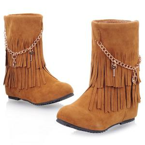 Suede Fringe Mid-Calf Boots -